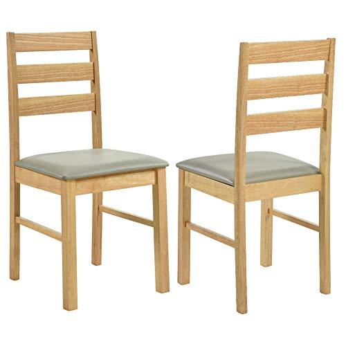 GOLDFAN 2er-Set Esszimmerstühle Holzstühle mit Rückenlehne für Esszimmer Wohnzimmer Restaurant (Oak)