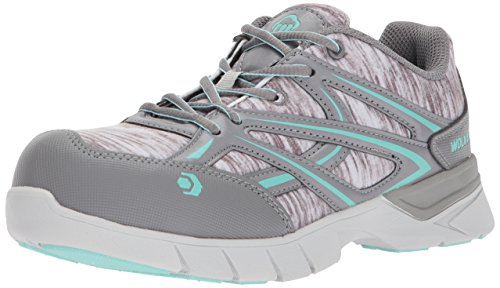 Wolverine Women's Jetstream Athletic Composite Toe Work Shoe, Grey/Blue, 8 M US