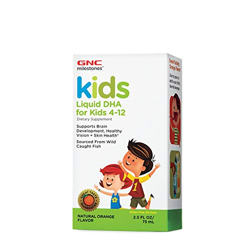 GNC Milestones Kids Liquid DHA for Kids 4-12, Natural Orange Flavor, 2.5oz, Supports Brain Development, Healthy Vision and Skin Health