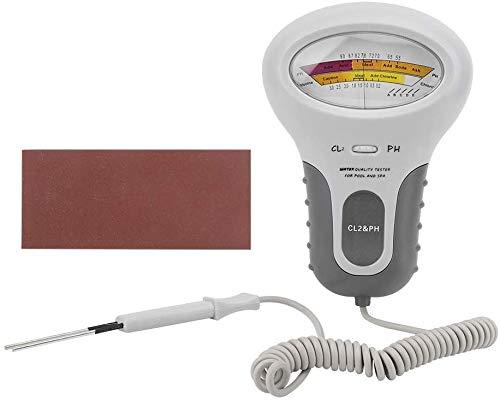 Medidor Cloro y Ph Piscinas,Analizador De Cloro y Ph,Analizador De Calidad De Agua,CL2 Cloro y PH Tester Con Sonda,Para Piscinas Familiares o Spa,Longitud Del Cable 130 Mm