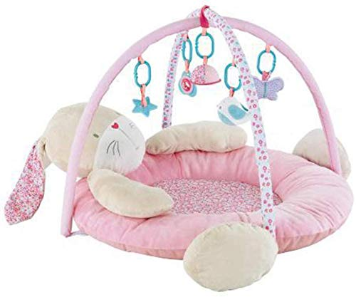 SCLL Arc de Jeu pour bébé Tapis de Jeu avec Jouets Suspendus et Cadeau de Lapin Doux pour Les Nouveau-nés, Les garçons et Les Filles de 0 à 12 Mois, Stable