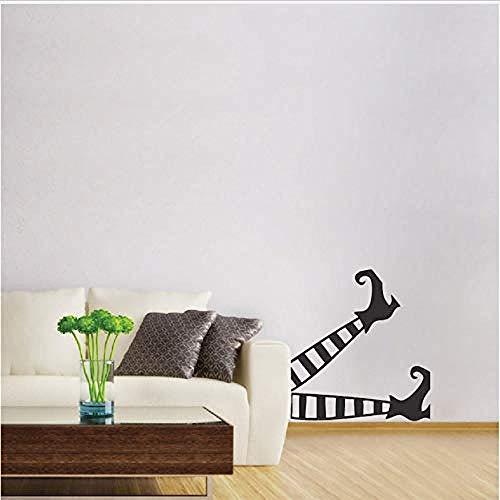 YFKSLAY Lustige Halloween besondere Dekoration Hexe Beine Kunst Muster Wandmalerei Vinyl Urlaub Wandaufkleber Home Room 30x46cm