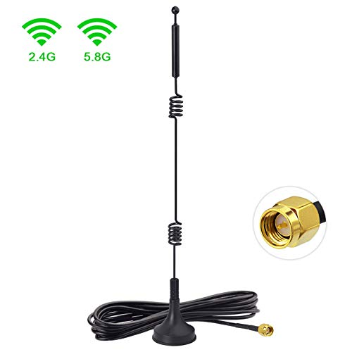 Bingfu Dual Band WiFi 2.4GHz 5GHz 5.8GHz 9dBi Magnetic Base SMA Male Antenna for Wireless Vedio Security Camera Surveillance Recorder Vehicle Truck Trailer Rear View Backup Camera Reversing Monitor