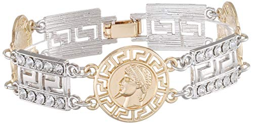 Urban Classics Unisex Armband Fancy Bracelet Kragenknopf, Silber (Silver/Gold 02381), Medium (Herstellergröße: S/M)
