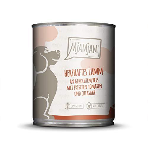 MjAMjAM - Premium Nassfutter für Hunde - herzhaftes Lamm an gekochtem Reis mit frischen Tomaten, 1er Pack (1 x 800 g), naturbelassen mit extra viel Fleisch