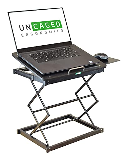 CD4 Laptop Standing Desk Converter Ergonomic Adjustable Height tilt Laptop Desk Stand sit Stand up Desktop Riser Topper for laptops Small Compact Portable Folding Lightweight with Mouse pad Small