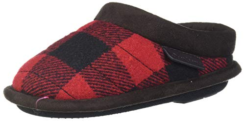 Dearfoams Baby Peyton Kids Mixed Material Clog Slipper, Red Plaid, 7-8 Toddler Medium US Toddler
