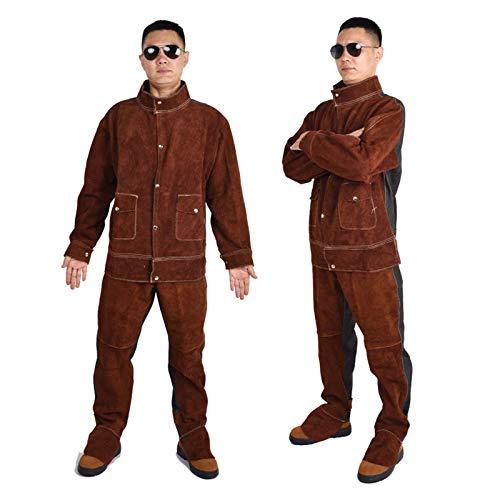 AORISSE Schweißerjacke, Nähen Von Denim-Rindsleder-Schweißkleidung Anzug Für Schwer Entflammbare Leder-Schweißgrill-Sicherheitskleidung, Geeignet Für Orte Mit Hohen Temperaturen,Braun,XL
