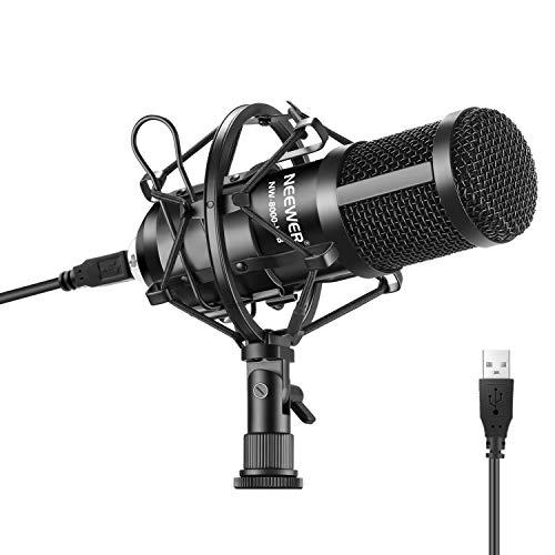 Neewer USB Mikrofon 192KHz/24Bit Plug&Play Computer Nierencharakteristik Podcast Kondensatormikrofon mit professionellem Sound Chipset für PC Karaoke/Streaming/YouTube (Schwarz)
