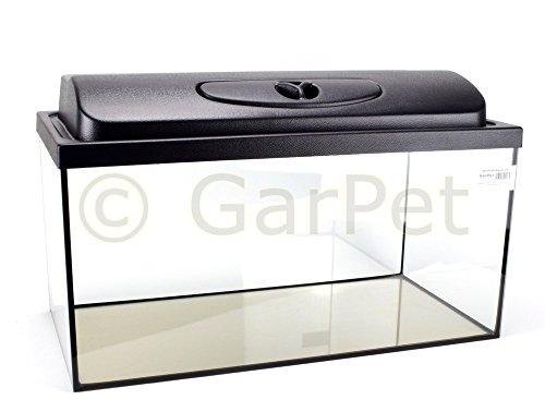 GarPet Aquarium rechteckig mit Abdeckung inkl. LED Beleuchtung im Set (60x30x30 + Abdeckung LED)