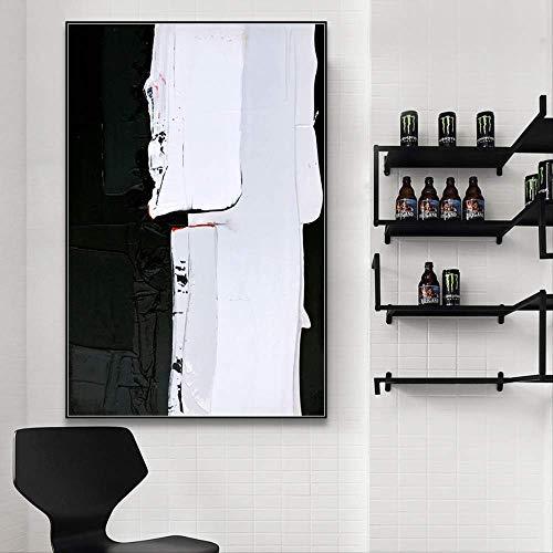 LWJZQT Cuadro sobre Lienzo Cartel De Pintura De Impresión De Arte Abstracto Moderno Blanco Negro Lienzo, Cuadros De Pared para Sala De Estar, Imagen De Decoración del Hogar 60×80cm