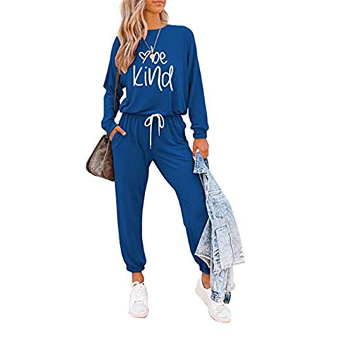 I3CKIZCE 2PCS Damen Trainingsanzug Loungewear Set Langarm Letter Print Pullover Tops Lange Hosen Jogginghose Damen Gym Wear Jogging Sportswear Top und Jogging Bottom Outfits Set S-3XL (Hellblau, S)
