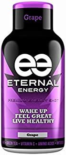 Eternal Energy shot GRAPE flavor 3 - 12 Packs, 36 Units - Vitamin B, Vitamin C, Amino Acids, Antioxidants, Caffeine, Quercetin, Taurine, Green Tee Made in USA