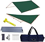 Lightweight Survival Tarp Hammock Rainfly Tent Tarp Waterproof with Poles Adjustable Camping Gear Hunting Hiking Backpacking Brushcraft Shelter(10x10ft tarp with 2pcs 5.9ft Poles)