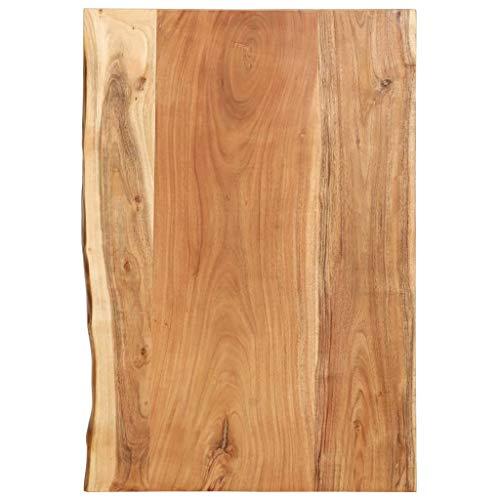 vidaXL Akazienholz Massiv Waschtischplatte Badezimmer Waschtisch Waschtischkonsole Platte Holzplatte für Aufsatzbecken Badmöbel Baumkante 80x55x3,8cm