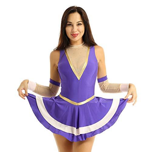 dPois Vestido Bailarina para Mujer Maillot Danza Ballet Lujoso Disfraz Dominadora Circo Traje Disfraces Ringmaster Fiesta Halloween Carnaval Morado Large