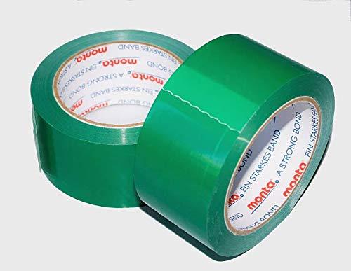 6 x MONTA Klebeband 250 PVC grün leise 66m x 50mm Paketband Kleber (1m=0,038EUR)