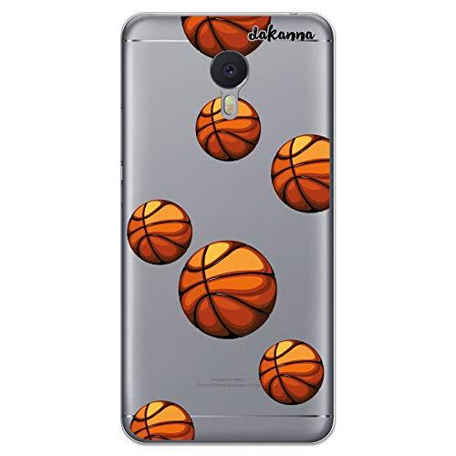 dakanna Funda Compatible con [Meizu M3 Note] de Silicona Flexible, Dibujo Diseño [Patrón Balón de Baloncesto], Color [Fondo Transparente] Carcasa Case Cover de Gel TPU para Smartphone