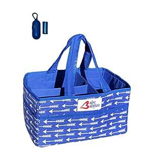 Baby Babylon Washable Diaper Caddy Organizer and Diaper Trash Bag Dispenser | Nursery Storage Bin | Changing Table Organizer | Baby Shower Gift Box Bundle (Royal Blue)