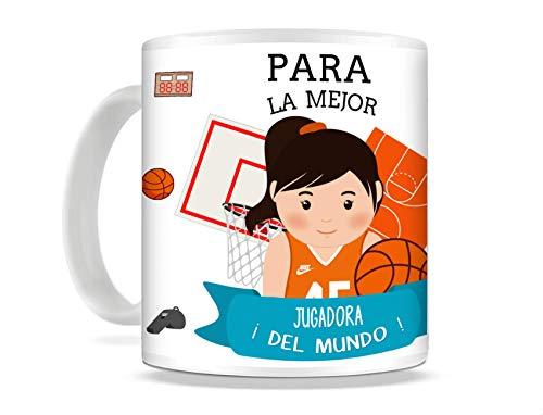 REGALOS ESTRELLA AZUL Taza de Desayuno Original para Regalar al Mejor Deportista Taza con Frases y Mensajes Divertidos y alegres Deporte, Regalo Baloncesto (Baloncesto (Ella))