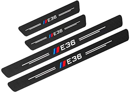 4 Unids Tiras Umbral Fibra Carbono,para BMW E36 ProteccióN AutomóVile Sumbral Placa Door Sill Desgaste Pegatinas Tiras Proteccion Accesorios Antiincrustante