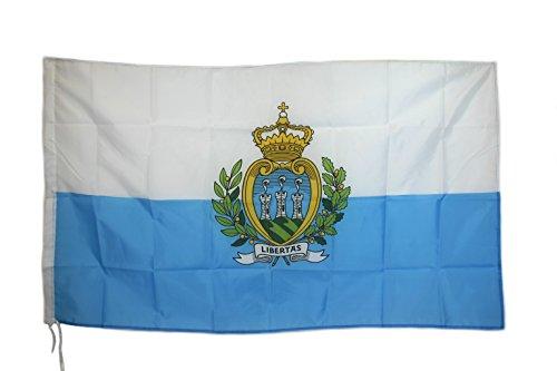 G.V. Drapeau Flag République Saint-Marin Sanmarinese Rocca Monte Titano, 90 x 150 cm, haute qualité, tissu épais robuste