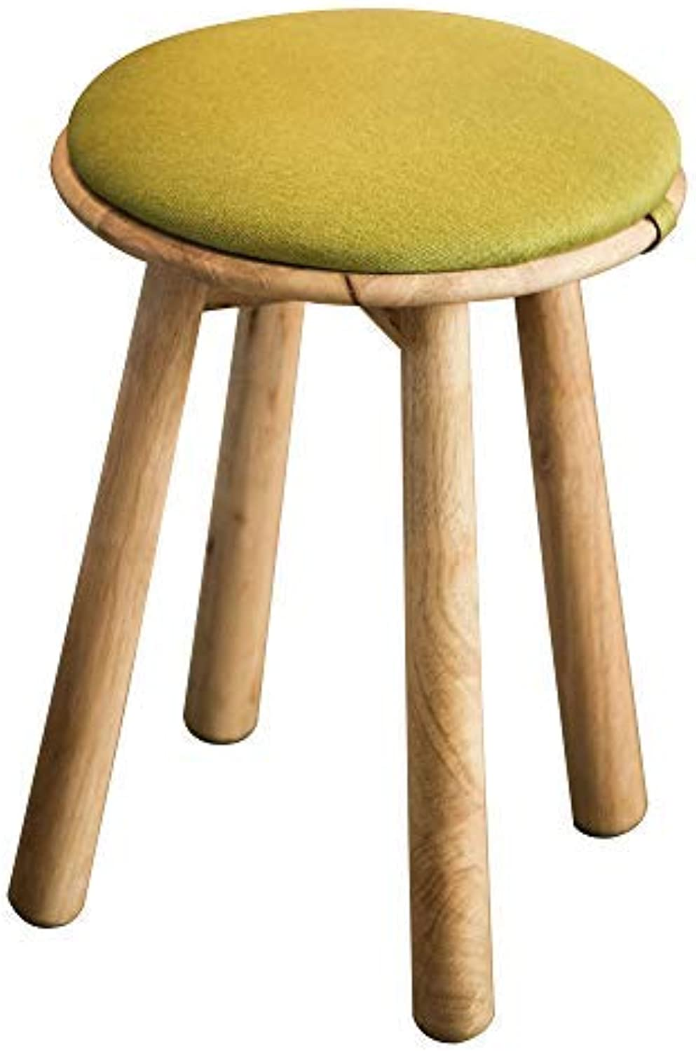 Heywood Linen Fabric Round Stool with Solid Wood Legs Padded Stool with Removable Design (Green)