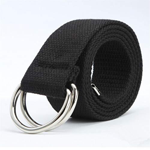 JOMSK Einfache Canvas Gürtel Military Style Tactical Gurtband Gürtel mit Double D Ringschnalle für Männer und Frauen, Schwarz