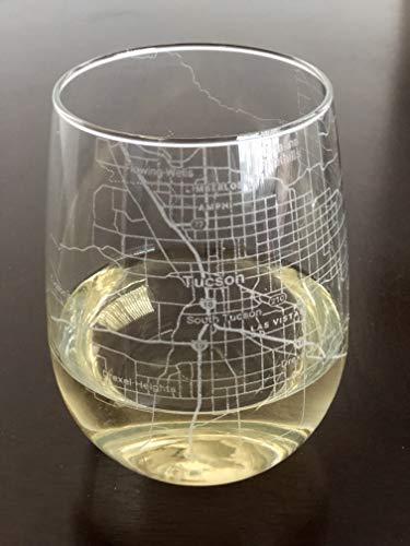 Stemless 17oz Wine Glass Urban City Map Tucson Arizona
