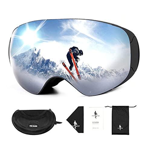FREE SOLDIER Occhiali da Sci per Uomo e Donna Occhiali Snowboard OTG Anti-Appannamento con Lenti Rimovibili Maschere da Sci Magnetici Senza Telaio con Protezione UV400 al 100%(Argento-14% VLT)