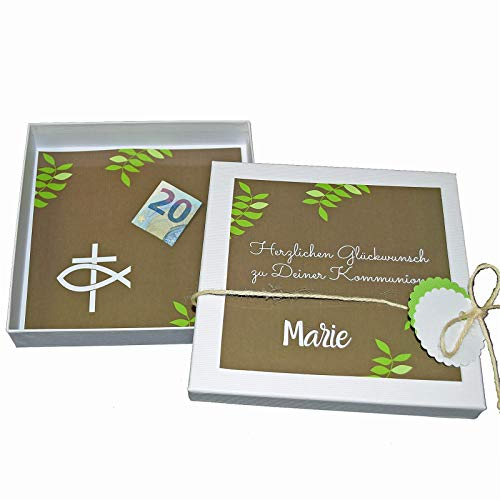 Geld Geschenk Box personalisiert zur Kommunion/Konfirmation/Firmung