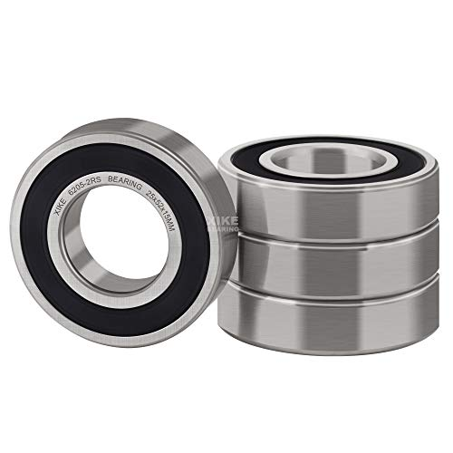 XiKe 4 Pcs 6205-2RS Double Rubber Seal Bearings 25x52x15mm, Pre-Lubricated and Stable Performance and Cost Effective, Deep Groove Ball Bearings.