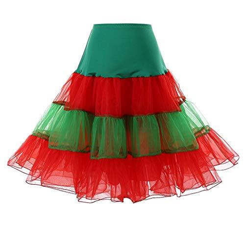 Xmiral Damen Tutu Tanzen Rock Hohe Taille Farbe Spleiß Tüll Mini Unterrock Ballett Falten Party Petticoat(Grün,M)