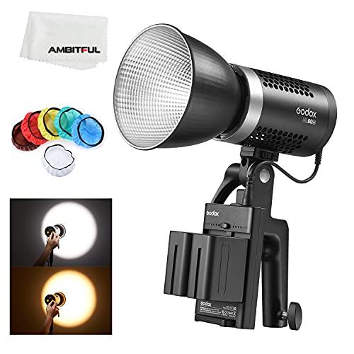 Godox ML60Bi 60W LED Video con manico (Godox Mount), CRI 96+/TLCI 97+, doppia temperatura di colore con 2 batterie al litio NP970.
