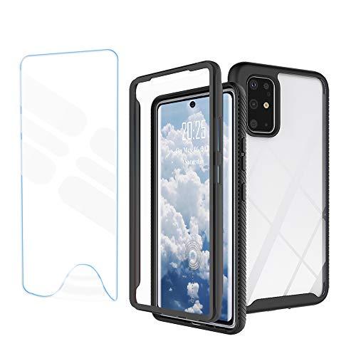 WeiHülle Hülle kompatibel mit OnePlus 8T Hülle, 360 Grad Full Protection Silikon Slim Schutzhülle, Cover mit Integriertem Bildschirmschutz für OnePlus 8T, Schwarz