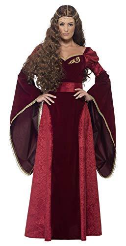 Smiffys 27877L - Disfraz de reina medieval de lujo, con vestido, cinturón y adorno para cabeza, Rojo, L - EU Tamaño 44-46