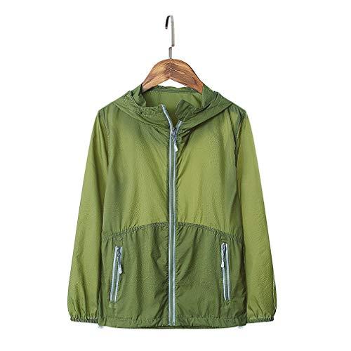 CIKRILAN Children Ultra-Thin Lightweight Summer Sun Protection Anti-UV Jacket Coat Boys Girls Outdoor Quick Dry Hoodie(M,Army Green)