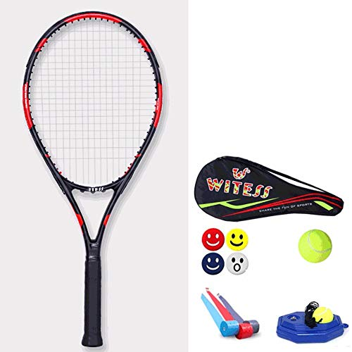 Rebily Tennisschläger Einzel Anfänger Carbon-Männliche und weibliche Studenten Doppel Professioneller Trainer Double Anzug Rot Schwarz Full Carbon Single-Netz Racket (Color : Black red)