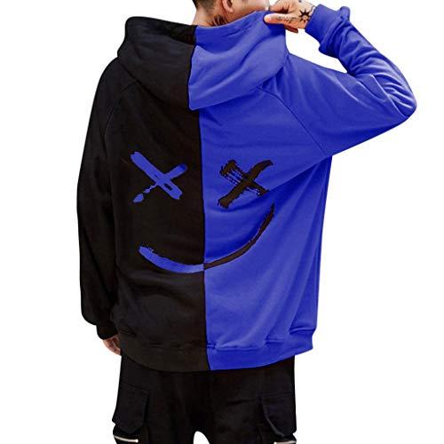 MERICAL Volto Sorridente Moda Stampa Felpa con Cappuccio del Rivestimento Pullover Teen Unisex(Blu,XXL)