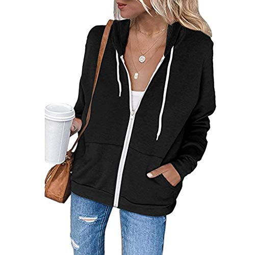 YEBIRAL Damen Sweatjacke Zip Hoodie Kapuzenjacke Langarm Pullover Oberteile Kapuzenpullover Mode Casual Sweatshirt Jacke mit Kapuze Taschen(XL,A- Schwarz)