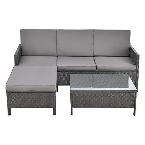 [en.casa] Gartenmöbelset Rattan 3-TLG. Rattan-Möbel Sitzgruppe Gartenlounge Loungeset Polyrattan Dunkel-/Hellgrau - 2