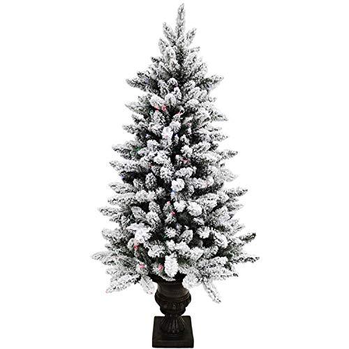Fraser Hill Farm Indoor 5-Ft. Snow-Flocked Fiber Optic Prelit Christmas Tree in Decorative Pot, Festive LED Dancing Lights, FFFTFOPT050-6SN