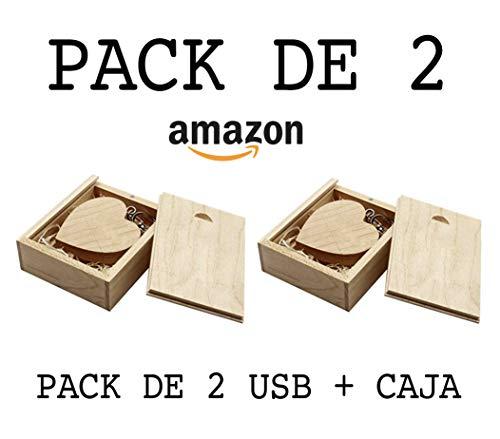 USB de Madera (8GB) PACK de 2 USB Corazón De Madera + Caja de madera Para Fotógrafos USB para bodas Pendrive para fotógrafos