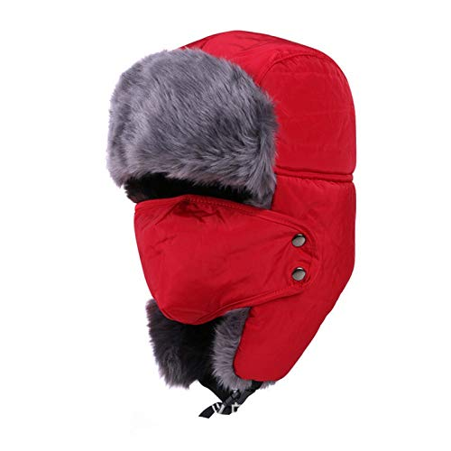 Winter Bomber Hats Ushanka Fur Hat Warm Thickened Ear Flaps Cap for Men&Women Mask Balaclava (Color : 1, Hat Size : 56 62)
