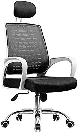 RANRANJJ Silla de Oficina con reposabrazos Ajustable Reposabezas y Altura del Asiento for la Silla de Oficina de la Sala de conferencias (Color : White, Size : 121.5 * 49cm)