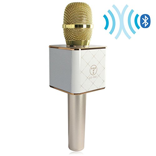 Digitnow! Wireless Handheld Microphone Portable KTV Karaoke Stereo Player Bluetooth For Smart Phones iphone/ipad Computer With Mic Speaker Gold USB Playback