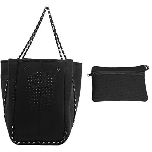 Bolsa de playa de neopreno, bolso de mano para mujer de estilo versátil, novedoso y moderno, portátil y duradero, duradero y cómodo para viajes de oficina(38 * 19 * 6cm-black)