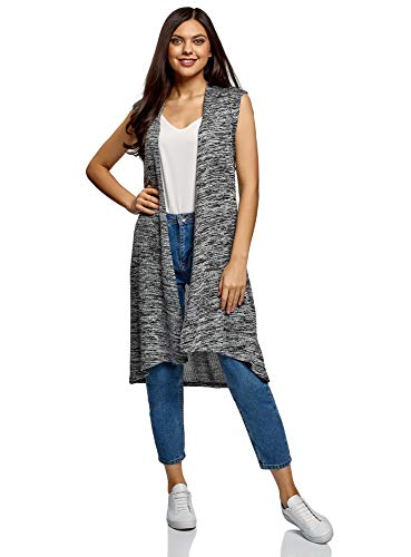 oodji Collection Damen Lange Verschlusslose Weste, Grau, DE 38 / EU 38 / M