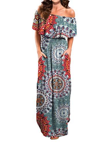 VERABENDI Womens Maxi Summer Off Shoulder Beach Long Floral Dress Blue M