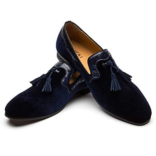Mocasines Zapatos de Hombres Zapatos de Terciopelo de Cuero con Cordones Borlas de Hombre Zapatos Casuales de Moda